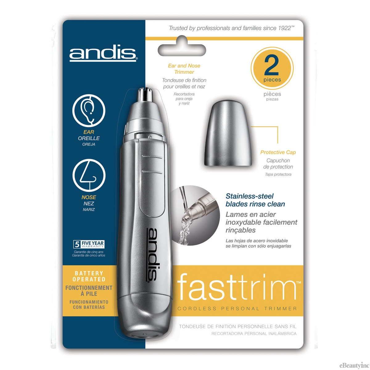 Andis Fast Trim Personal Trimmer for Nose Ears and Eyebrows #13430