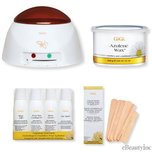 GiGi Pro Azulene Wax Warmer Hair Removal Waxing Combo Kit