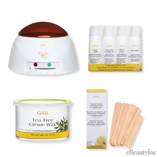 GiGi Pro Tea Tree Creme Wax Warmer Hair Removal Waxing Combo Kit