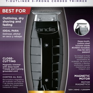 Andis GTX T-Outliner Black Hair Trimmer W/ 4 Attachment Combs #04775