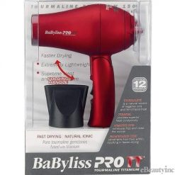 BaByliss Pro TT Tourmaline Titanium Travel Dryer - RED