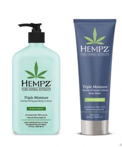 Hempz Triple Moisture Herbal Whipped Body Creme Lotion & Body Wash Set