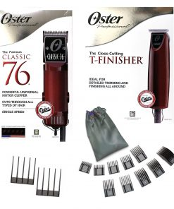Oster Classic 76 Hair Clipper & T-Finisher Trimmer W/ Attachment Combs Set